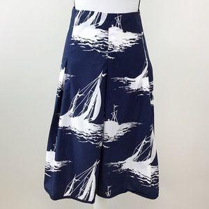 Talbots Navy Blue White Sail Boat Full Skirt